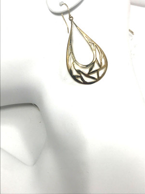 "The 14 K yellow gold cut out pear shaped dangles are handcrafted in Portland, Maine.  The earrings have a polished finish and weigh 7.8 grams.  The earrings measure 2 1/4 "" x 1 1/8 """