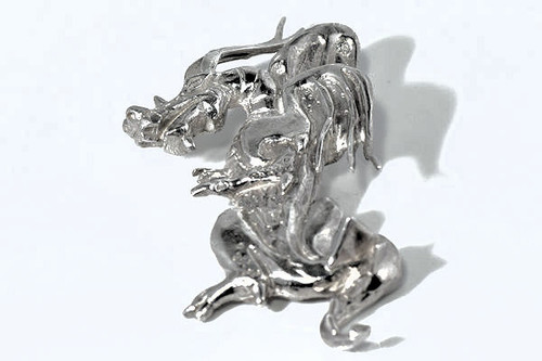 Silver Vertical Dragon Pendant