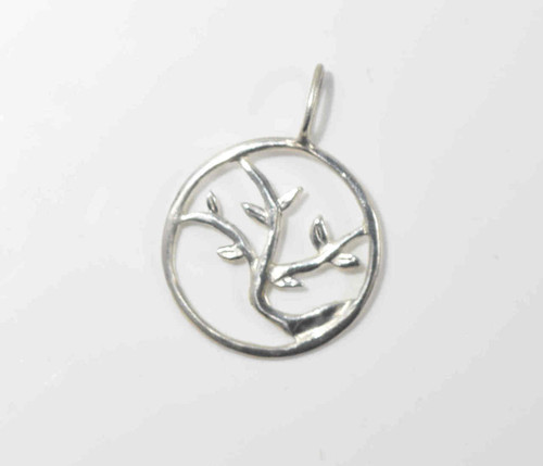 The tree of life 2 pendant is hand crafted in Portland, Maine.  The pendant is a similar style to our larger one.  This pendant is sterling silver and measures 24 mm. x 35 mm. and weighs 2.2 grams.