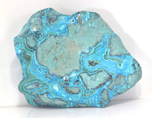 The chrysocolla polished Specimen is from Zaire. The specimen is polished on all sides. The piece weighs 5 pounds and measures 9 x 7 x 3 inches.