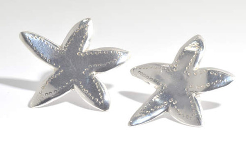 The sterling silver polished large starfish earrings are hand crafted in Portland, Maine.  The earrings are a free form style starfish measuring 13/16 x 1 1/16 inches.  The earrings weigh 7.8 grams and are one of a kind.