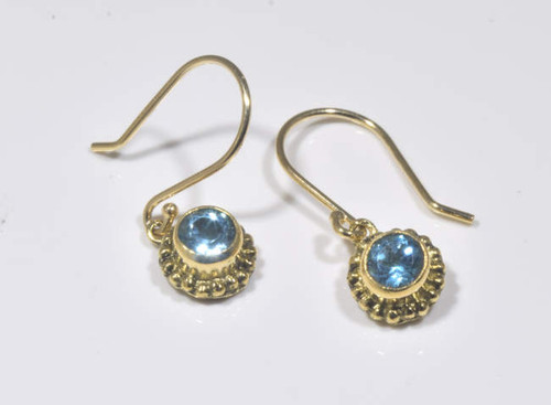 Blue Topaz Yellow Gold Beaded Drop Earrings