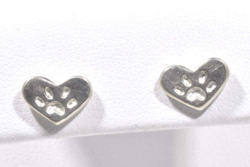 The sterling silver heart paw studs are hand crafted in Portland, Maine.  The heart paw studs are part of the pawz series which a portion of the profits are donated to the Animal Refuge League of Portland, Maine.  The hearts measure 7 mm. x 9 mm. and weigh 1.7 grams.