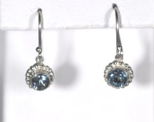 Aquamarine Beaded Bezel Drop Earrings