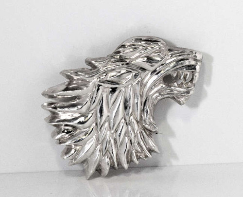 The sterling silver pendent is a tails man of Winter is Coming.  The piece is hand crafted and is two dimensional.  The wolf is 27.7 grams and measures 2 x 1.5 x .25 inches.  He is very cool.  For all of those Game of Thrones fans.