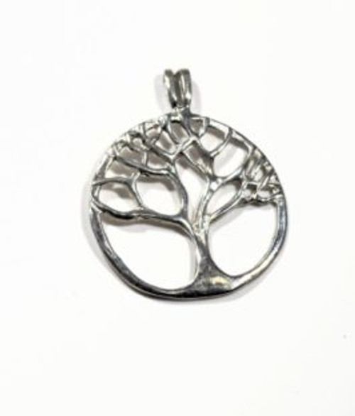 The silver tree of life pendant is hand crafted in Portland, Maine.  The pendant is sterling silver and weighs 2.8 grams.  The pendant measures 1 x 1 1/8 of an inch.