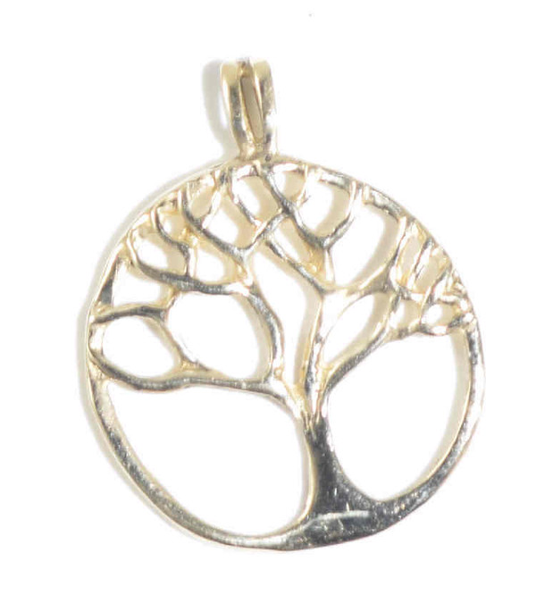 The gold tree of life pendant is hand crafted in Portland, Maine.  The pendant  is a 14 K  tree of life that measures 1.25 x 1 x.25 inches and weighs 2.4 grams.