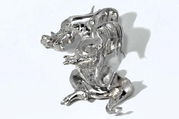 Silver Vertical Dragon Pendant