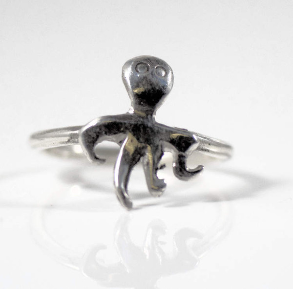 The bay sterling silver octopus ring is hand crafted in Portland, Maine.  The octopus ring is a size 7.5 and weighs 2.6 grams.  The ring can be sized upon request. The octopus measures 18 x 13.5 mm.