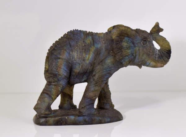 Labradorite Elephant Carving