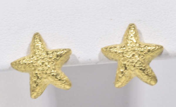 The Gold Textured starfish earrings are hand crafted in Portland, Maine.  The starfish are 18 K yellow gold with a textured finish.  The studs measure 12 mm. x 3 mm. and weigh 3.6 grams.  The posts are 14 k yellow gold.