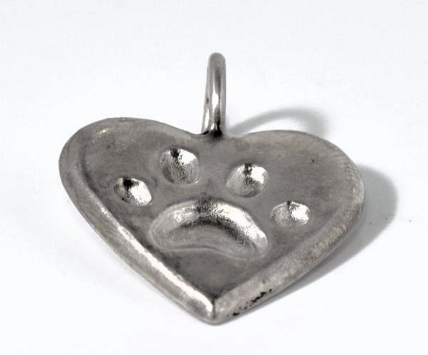 Small Silver Pet Paw Pendant