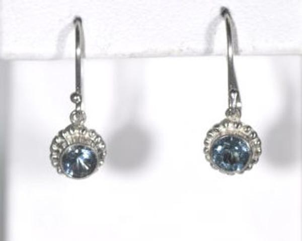 Aquamarine Beaded Bezel Drop Earrings