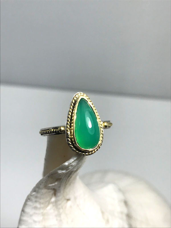 Chrysoprase Silver and Gold Ring