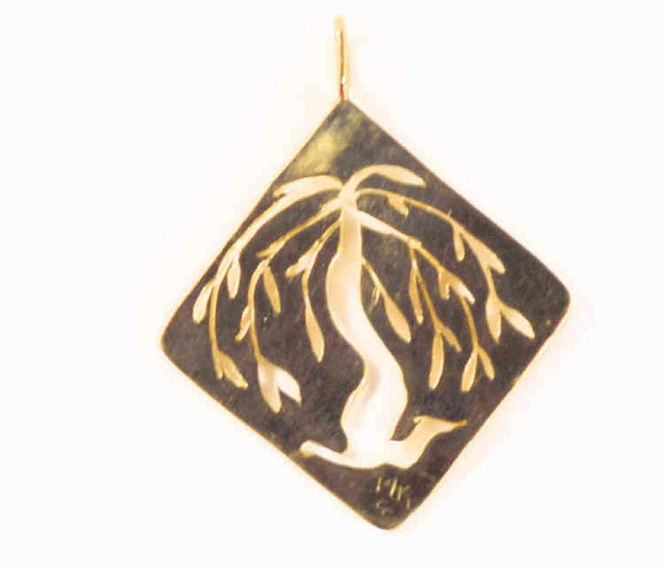 The 14 k yellow gold willow tree pendant is handcrafted in Portland, Maine. The willow is an open section in the center with the outside a square and the pendant hangs on the diagonal.  The pendant measures 2 inches in length and 1.5 inches wide.  The pendant is 1 mm. wide and weighs 8.3 grams.