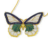 ENAMEL GREEN&WHITE GOLD BUTTERFLY W/BLUE CZ STONES REVERSIBLE NECKLACE 16+2""