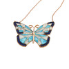 ENAMEL TURQUOISE&WHITE RHODIUM BUTTERFLY W/BLUE CZ STONES REVERSIBLE NECKLACE 16+2""