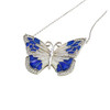 ENAMEL BLUE&WHITE BUTTERFLY W/WHITE CZ STONES REVERSIBLE NECKLACE 16+2""