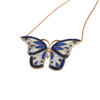 ENAMEL BLUE&WHITE RHODIUM BUTTERFLY W/BLUE CZ STONES REVERSIBLE NECKLACE 16+2""