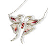 ENAMEL RED&WHITE BUTTERFLY W/WHITE CZ STONES REVERSIBLE NECKLACE 16+2""