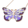 ENAMEL PURPLE&WHITE RHODIUM BUTTERFLY W/PINK CZ STONES REVERSIBLE NECKLACE 16+2""