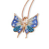 ENAMEL BLUE&WHITE ROSE GOLD SMALL BUTTERFLY W/WHITE CZ STONES REVERSIBLE NECKLACE 16+2""