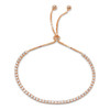 2MM STERLING SILVER ROSE GOLD PLATED ROUND CUT CUBIC ZIRCONIA ADJUSTABLE BRACELET