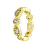 GOLD PLATED STACKABLE 10 CZ ETERNITY BAND 4MM WIDE