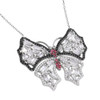 BUTTERFLY W/BAGUETTES WHITE RED BLACK CZ STONES NECKLACE 16+2""