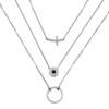 CROSS EYE ETERNITY CIRCLE CZ PENDANTS RHODIUM PLATED NECKLACE 16+2""