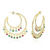 43MM CRESCENT SHAPED HOOP EARRINGS WITH MULTI COLOR DANGLING CZ