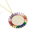 GOLD MULTI COLOR ROUND AND BAGUETTE CZ NECKLACE 16+2""