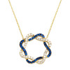 """GOLD TWISTED SQUARE BLUE AND WHITE CZ NECKLACE 16+2"""""""