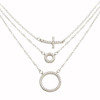 RHODIUM CROSS AND PAVE CZ CIRCLE LAYER NECKLACE 16+2""
