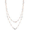 ROSE GOLD  FRESH WATER PEARL AND DIAMOND 5MM CZ BY THE YARD NECKLACE 36""