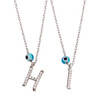 "RHODIUM PLATED EVIL EYE INITIALS NECKLACE 16"" + 2"""