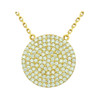 """GOLD PLATED 21MM LARGE CZ DISK NECKLACE 16"""" + 2"""""""