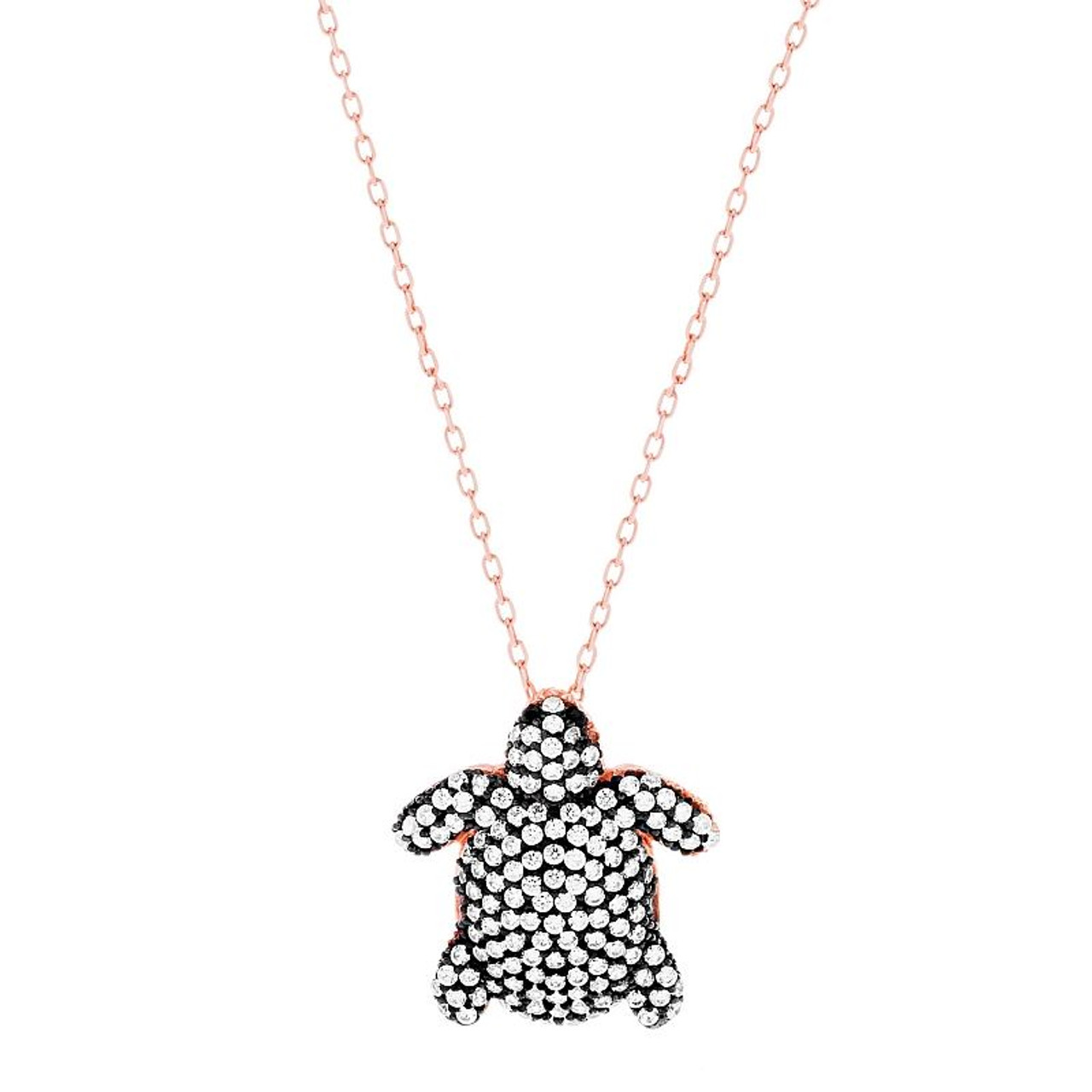 Rose Gold Plated Cz Pave White Turtle Necklace 16 2