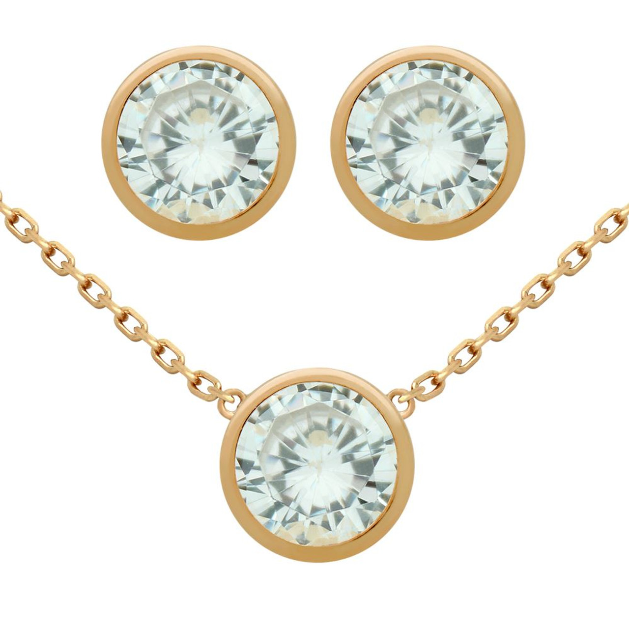 Sterling Silver or Rose Gold Plated Dangling Bezel-Set CZ 16+2 Necklace