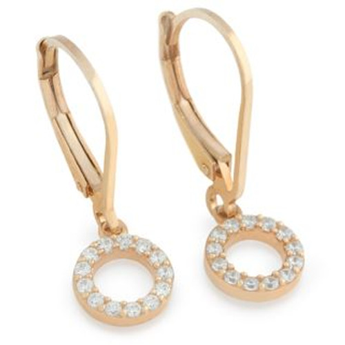 ROSE GOLD PLATED 7MM CZ ETERNITY CIRCLE EARRINGS