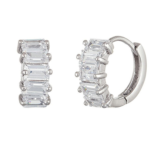 RHODIUM PLATED 15MM HUGGIE EARRINGS WITH PRINCESS CUT CZ STONES