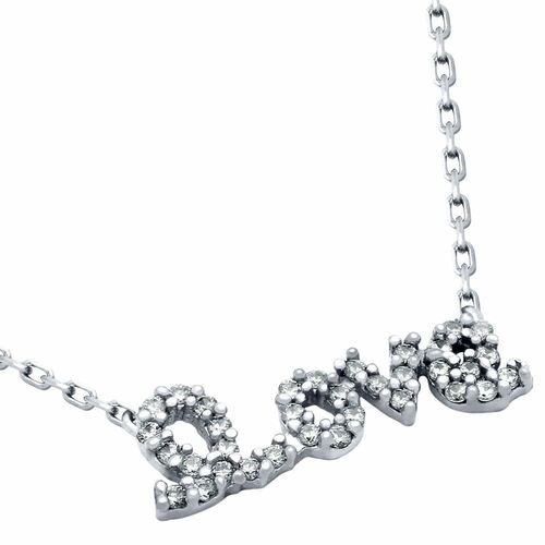 "RHODIUM PLATED STERLING SILVER CZ LOVE NECKLACE 16""+2"" ADJUSTABLE"