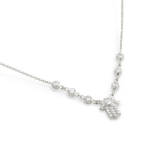 "RHODIUM PLATED CZ HAMSA NECKLACE IN 16"" + 2"""