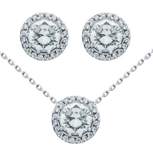 "RHODIUM PLATED SET: 7.5MM ROUND CZ EARRINGS AND 16+2"" NECKLACE"