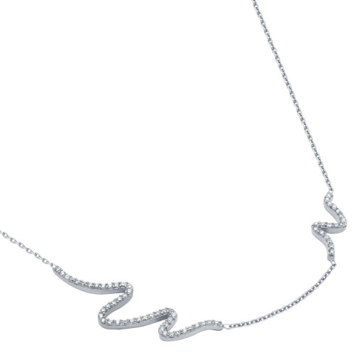 "RHODIUM PLATED CZ WAVE DESIGN NECKLACE 16"" + 2"""