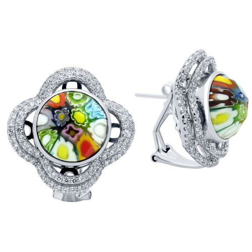 MULTICOLOR MURANO MILLEFIORI ROUND EARRINGS WITH INTRICATE CLOVER CZ BASKET