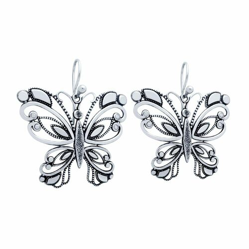 STERLING SILVER 36MM INTRICATE BUTTERFLY EARRINGS