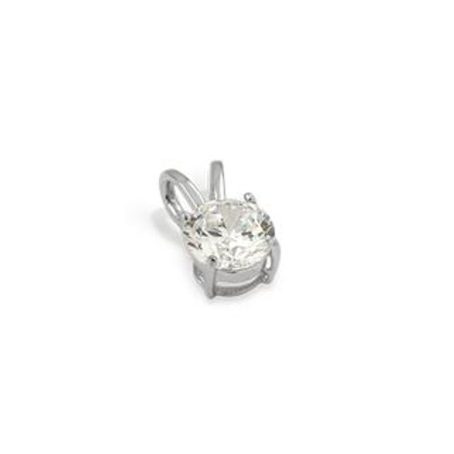 5MM RHODIUM PLATED ROUND BASKET CZ PENDANT
