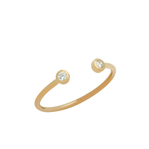 ROSE GOLD PLATED ADJUSTABLE STACKABLE DOUBLE 2MM CZ RING
