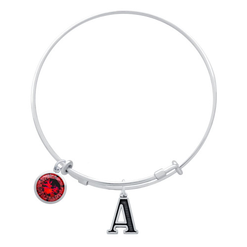 EXPANDABLE INITIAL BANGLE WITH JANUARY CHARM (AMAZON)